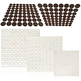 300 Pcs Cabinet Door Bumpers And 128 Pcs Furniture Pads, FineGood Clear  Adhesive Rubber Bumper
