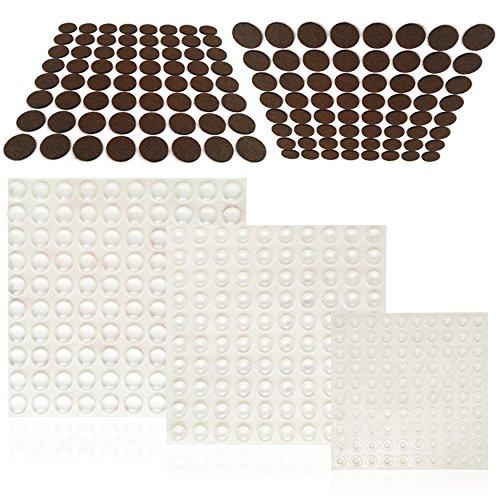 FineGood Parachoques la puerta del gabinete de 300 piezas y almohadillas de muebles 128 piezas, protectores parachoques goma...