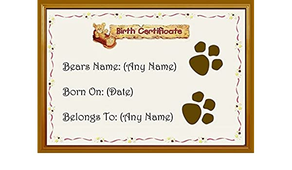 Amazon.com : Personalized Teddy Bear Birth Certificate : Office Products