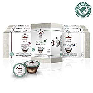 GLORYBREW – Variety Pack - 108 count 100% Compostable Coffee Pods for Keurig K-Cup Brewers - Rainforest Alliance Certified – Medium, Dark & Extra Dark Roast | Better than Biodegradable Coffee Pods