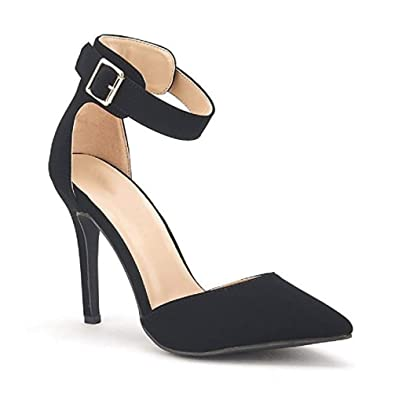 Women s Ankle Strap Stiletto Pumps Pointed Toe Dress D Orsay High Heel  Summer Wedding Nubuck 013c5cdd584a