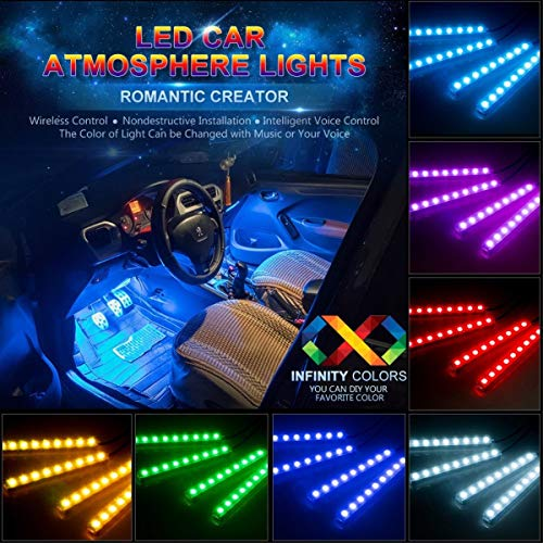 Car LED Strip Lights, Auto Parts Club Multicolor Car Interior Lights with 4pcs 36 LEDS, LED Under Dash Lighting Kit with Wireless Remote Control Car RGB LED Neon Interior Light (Auto Accent Lighting)