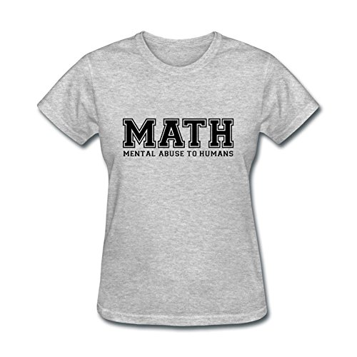 ZuiDeup Women's MATH Is Mental Abuse T-Shirt Grey M for sale  Delivered anywhere in USA