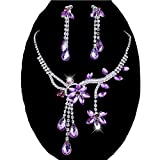 Chunlin Wedding Bridal Flower Leaf Rhinestone Crystal Necklace Drop Earrings Jewelry Set (Purple)