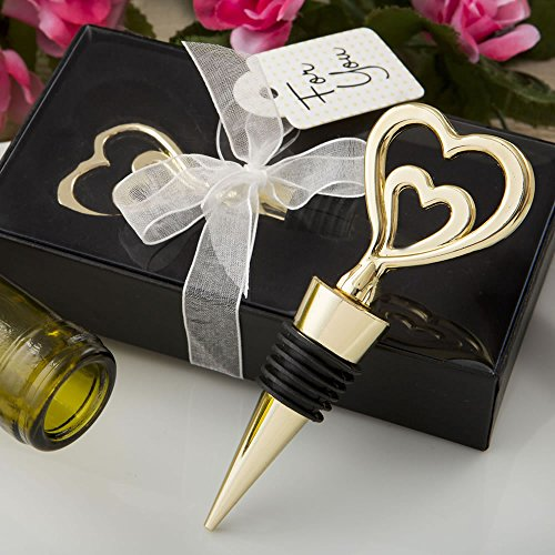 56 Gold Double Heart Design All Metal Bottle Stoppers by Fashioncraft