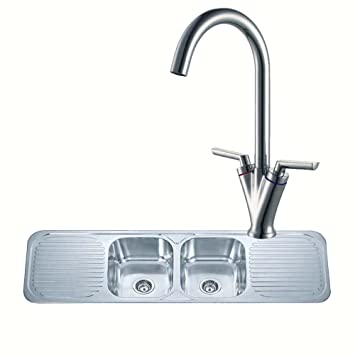 double bowl 2 drainer stainless steel kitchen sink and a chrome mixer tap set pack. beautiful ideas. Home Design Ideas