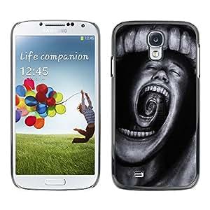 Caucho caso de Shell duro de la cubierta de accesorios de protección BY RAYDREAMMM - Samsung Galaxy S4 I9500 - Teeth Horror Terror Black Spooky