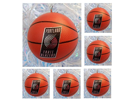 Team Trail (NBA PORTLAND TRAIL BLAZERS National Basketball Association Set of 6 Holiday Christmas Tree Ornaments Featuring Trail Blazers Team Basketball Ornaments Ranging from 2