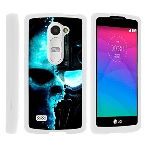 - Miniturtle [LG Leon Case, LG Tribute 2 Case, LG Risio White Case][Snap Shell] 2 Piece White Design Case, Perfect Fit Hard Rubberized Coat Cover - Demon Cyborg