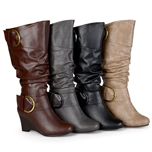 Brinley Co Womens Buckle Tall Faux Leather Boots Brown, 11 Extra Wide Calf US