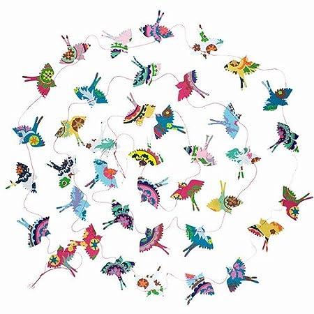 Summer SK56 World Buyers PAPER BIRD GARLAND WITH PINK STRING-BLUE,WHITE,PINK,ORANGE,YELLOW,GREEN,SILVER Summer AND PINK 2 x 10 L AND PINK 2 x 10/' L