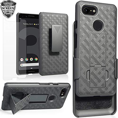 Google Pixel 3 Case Holster, Pixel3 Screen Protector Tempered Glass, Ailiber [Full Body Shockproof Armor Protection][Swivel Belt Clip][Kickstand] 2in1 Slim Hard Shell Cover for Google Pixel3 - Black
