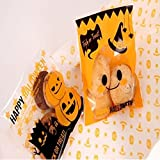 Windspeed Halloween Treat Bags Pumpkin Cookie Gift Bags for Halloween Party Supplies 100pcs