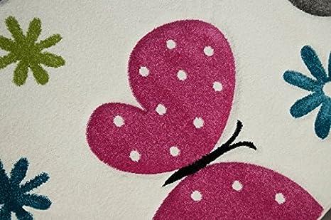 CARPETIA Carpette Enfant Tapis Filles Papillon Rose Blanc Gr/ö/ße 80x150 cm