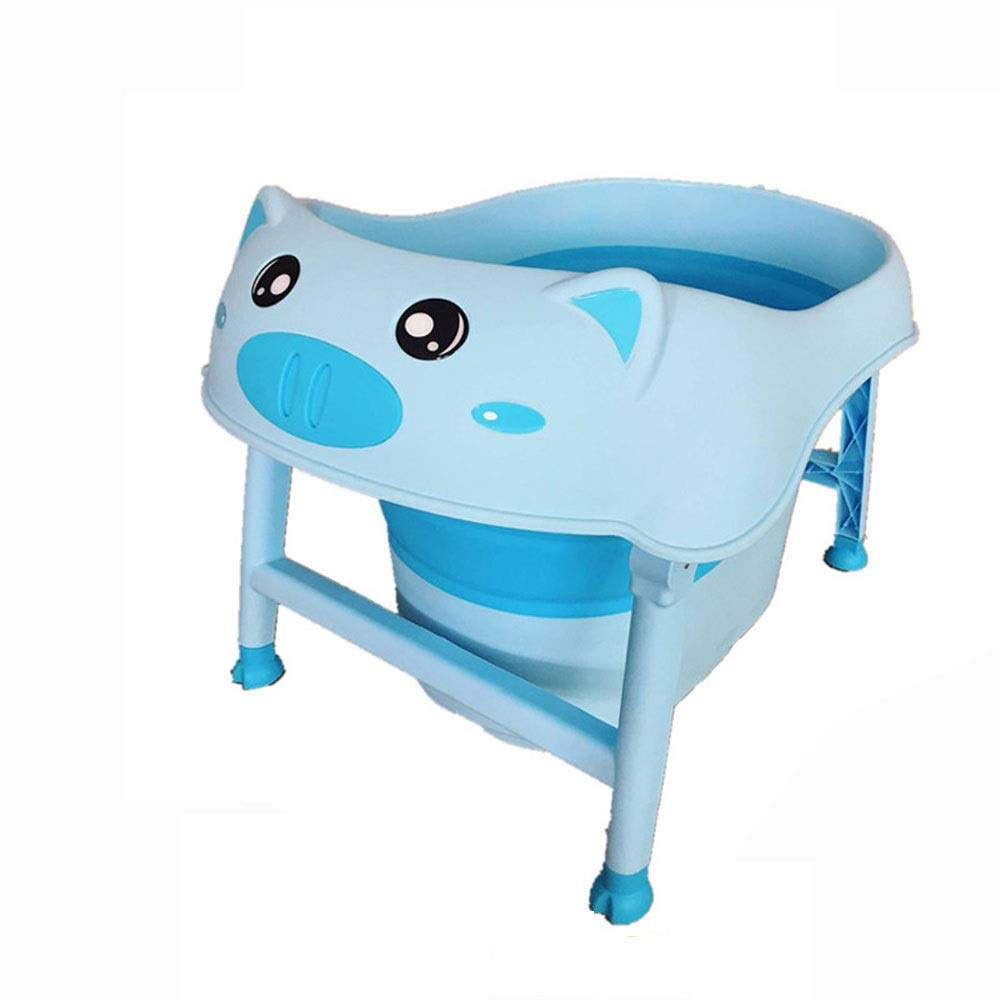 Small Pig Folding Bathtub Quality PP Material Household Children Bath Barrel 0-10 Years Old Suitable for Multifunctional Mobile Swimming Pool Outdoor Portable Bathing Bucket (Color : Blue) by SX1560