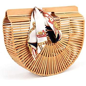 Amazon.com: Vintga Bolso de mano de bambú hecho a mano ...