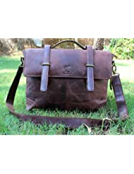 Cuero 15 Mens Auth Real Leather Messenger Laptop Briefcase Satchel Men and Women