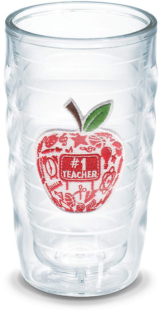 Tervis 1078523 #1 Teacher-Modern Apple Insulated Tumbler with Emblem, 10oz Wavy, Clear