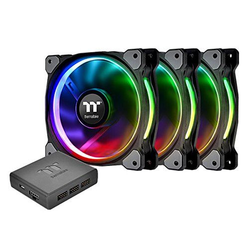 Thermaltake Riing PLUS 120mm Case Cooling Fan Kit with RGB lighting Black CL-F053-PL12SW-A