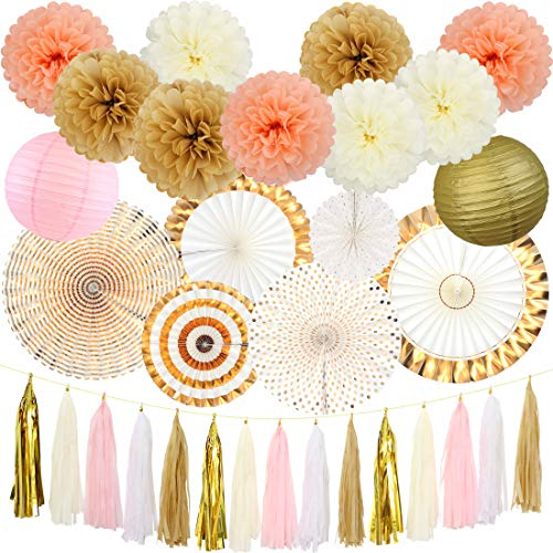 Elegant Party Decorations (Gold Party Decorations Birthday Party Supplies Paper FanSetTissue Pom Poms Paper Lanterns Tissue Garlandfor Wedding Bridal Shower Baby Shower BirthdayParty Decorations (Coffee and)