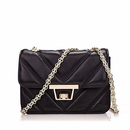 Bolso De cuero con bolsa lateral pequeña cadena de moda bolsa bolsa de cuero de oveja mini bolsa, 21*8*14cm, azul Negro
