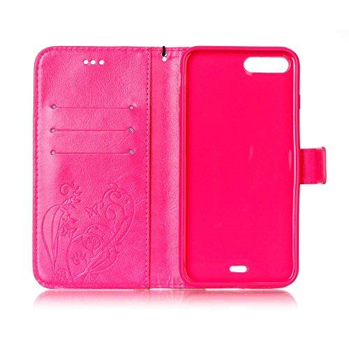 Single Side Motif Gaufré Flower Case En Cuir PU, Résine Case Rhinestone Livre Design Strap Case Pliable Wallet Support Pour Apple Iphone 7 Plus ( Color : Red )