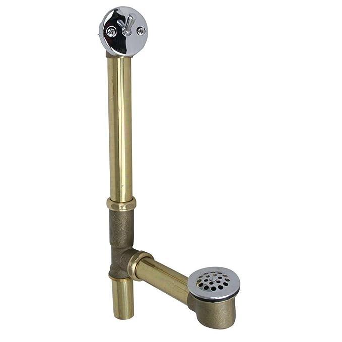 Westbrass 79220CP 14-Inch 20 Gauge Brass Trip Lever Bath Waste and ...