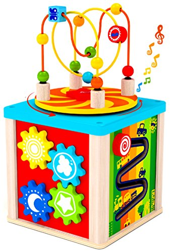 [5 in 1 Wooden Cube Activity Center with Rotating Musical Bead Maze for Baby's & Toddlers - by Kids Destiny] (Baby Blocks Musical Mobile)