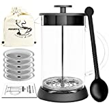 ADAMITA French Press Coffee Maker French Press 304 Grade Stainless Steel 8 cup 34 oz Coffee Press and Tea Press Designed with Heat Resistant Borosilicate Glass Perfect Gifts For Coffee and Tea lovers For Sale