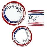 Patriotic Disposable Dinnerware/Party Supplies - Bundle - Dinner & Dessert Plates, Napkins for 24 Guests