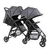 ZOE XL1 Best Tandem Lightweight Travel & Everyday Umbrella Stroller System (Noah Grey)