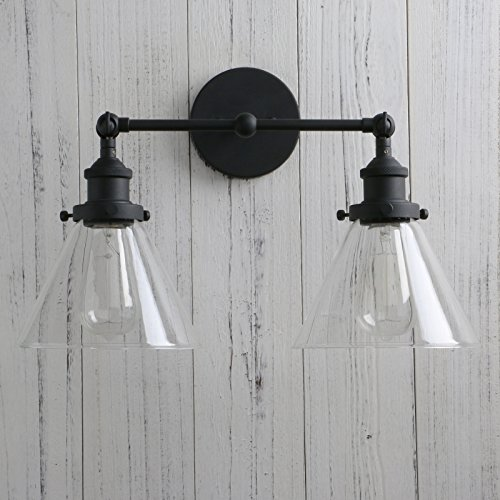 Permo Vintage Industrial Antique 2-Lights Wall Sconces with Dual Funnel Clear Glass Shade (Black) by PERMO (Image #5)