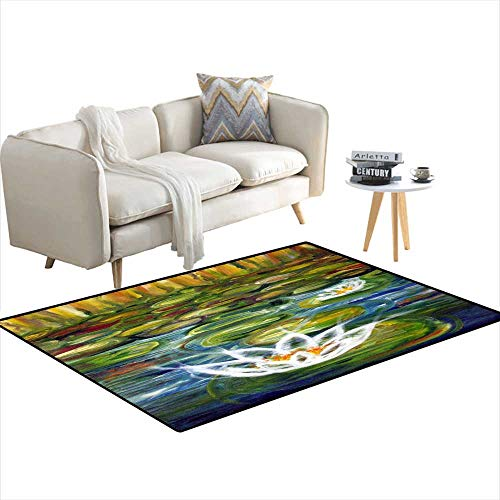 Extra Large Area Rug Water Lilies 4'x12'