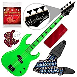 Dean Custom Zone Electric Bass Guitar, Nuclear Green with Accessory Bundle