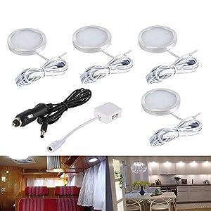 5143Cr2K1%2BL. SS300 LED Auto Innenbeleuchtung Kit, 12V Kaltes Weiß LED Kabinett Lichter mit Splitter und Auto-Ladegerät für Wohnmobil…