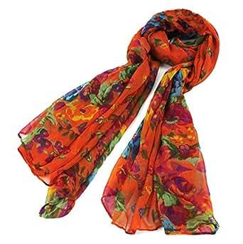 JSDY Womens Girls Bohemia Floral Patterns Print Voile Sheer Scarf Wrap Shawl Orange