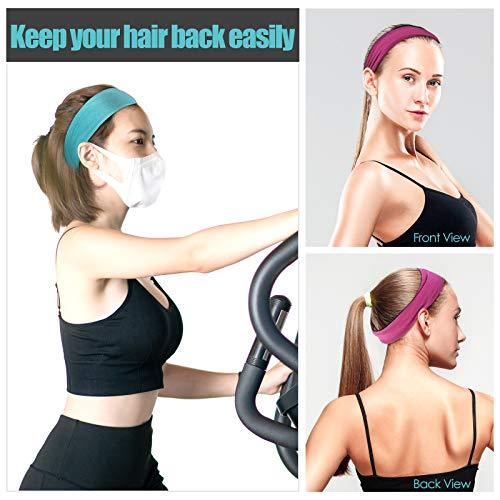 HEADBANDS FOR WOMEN, KUAIMA WORKOUT YOGA HEADBAND NON SLIP STRETCHY COTTON HEADBAND SWEAT HEAD BANDS FOR SPORTS RUNNING FITNESS-(4PCS)