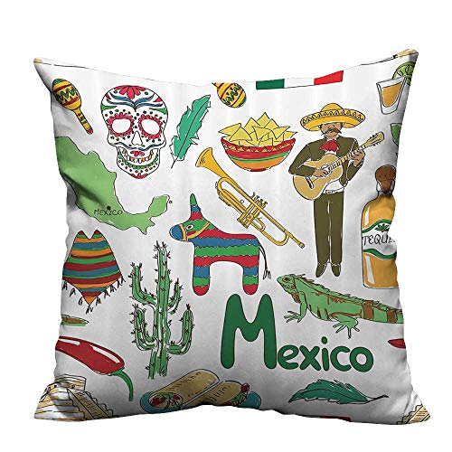 YouXianHome Decorative Throw Pillow Case Fun Sketch Mexico Chili Pyramid Nachos Cactus Music Pcho Ideal Decoration(Double-Sided Printing) 31.5x31.5 inch ()