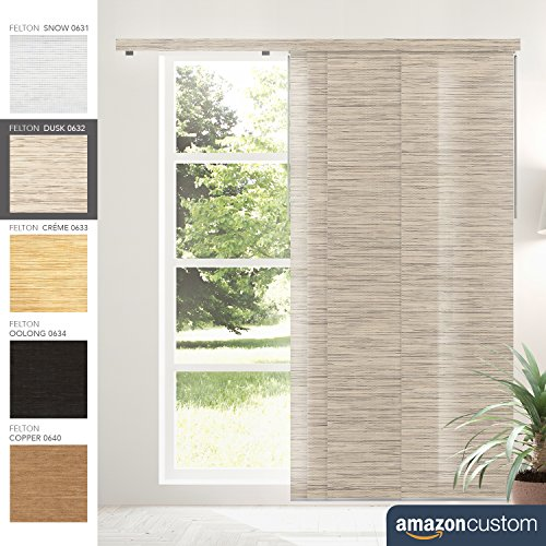 Custom Made Chicology Adjustable Sliding Panels, Felton Dusk-Natural Woven.W:76-86-in,H:78-96-in from CHICOLOGY