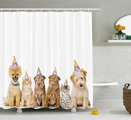 Birthday Decorations for Kids Shower Curtain by Ambesonne, Shelter Dogs Terrier Cats with Cone Hats Party Theme Image, Fabric Bathroom Decor Set with Hooks, 70 Inches, Multicolor