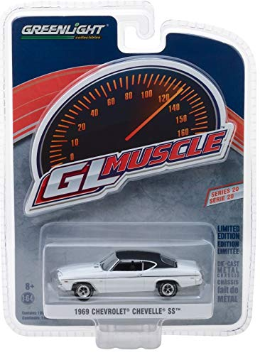 1969 Chevrolet Chevelle SS White with Black Top Greenlight Muscle Series 20 1/64 Diecast Model Car by Greenlight 13210 B ()
