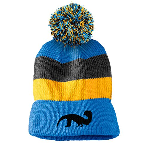 16d44a4204c Amazon.com  Giant Anteater Embroidered Unisex Adult Acrylic Vintage Striped  Removable Pom Pom Beanie Winter Hat - Black Grey Stripes