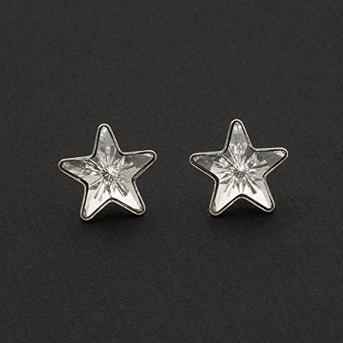 - Crystal Swarovski Elements Star small sterling silver 925 stud earrings 0.4in