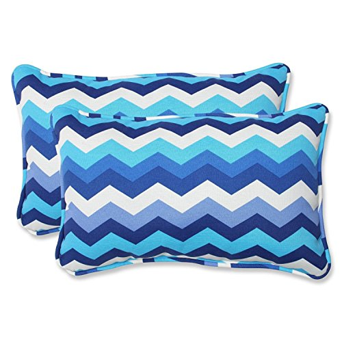 Set of 2 Rayas Azules Blue, Navy and White Chevron Striped Outdoor Corded Throw Pillows 18.5""