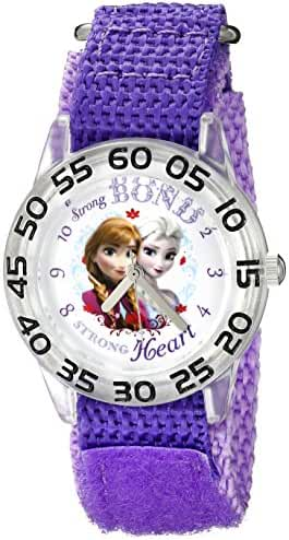Disney Kids' W002443 Frozen Elsa & Anna Time Teacher Watch with Purple Band