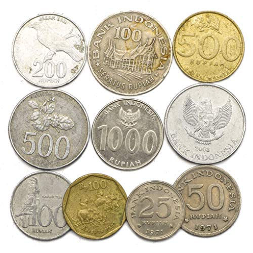 10 Old Coins from Indonesia. Collectible Coins from Southeast Asia Island. Indonesian Coin Collection RUPIAH. Perfect Choice for Your Coin Bank, Coin Holders and Coin Album