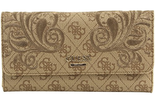 Guess Women's Arianna Brown Signature Embroidered Clutch Tri-Fold ()