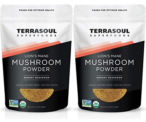 Terrasoul Superfoods Organic Lion s Mane Mushroom Powder 4 1 Extract , 11 Ounces