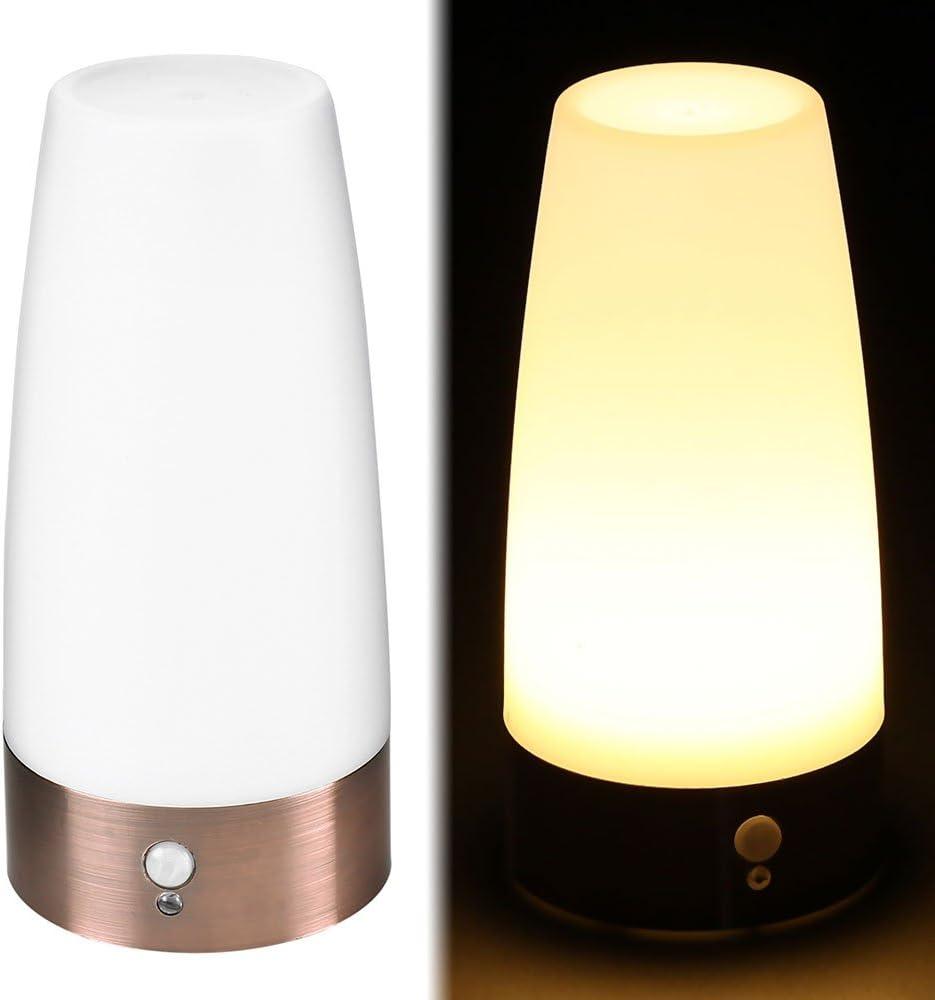 Comficent Lámpara de Mesa LED Iluminación sin Cable Sensor de Movimiento, Luz de Noche Seguridad para Escritorio de Habitación (Redondo)