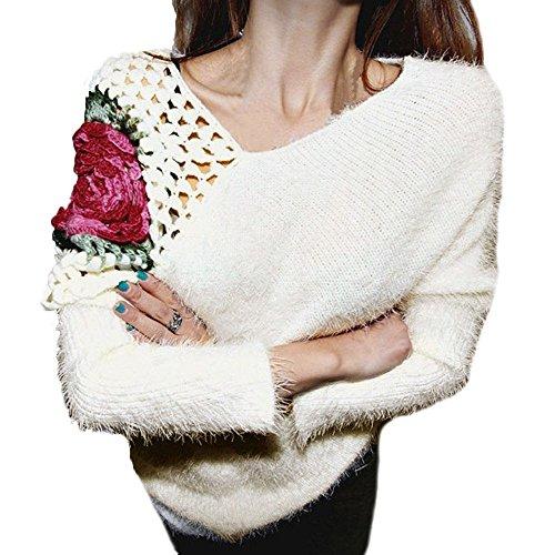 Rosa Pullover Casual white Inverno Maglione Fiore Donne Svuotato Nero Donne Beige White Lloo Donna x61qT8I